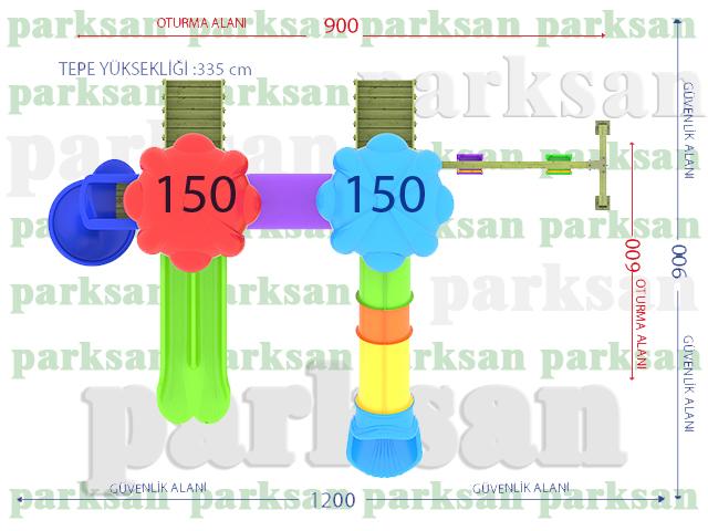 Ahşap Çocuk Oyun Parkları / Ahşap Çocuk Oyun Parkı  (Klasik Seri)  PA - OP56 Teknik Resim