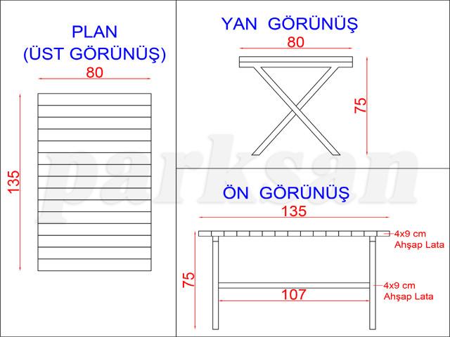 Ahşap & Metal Piknik Masaları / Piknik Masası  (Ahşap Masa)  PA - P30 Teknik Resim