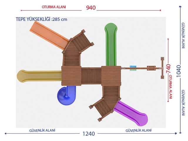 Ahşap Çocuk Oyun Parkları / Ahşap Çucuk Oyun Parkı (Eko Seri) PA - OP12 Teknik Resim