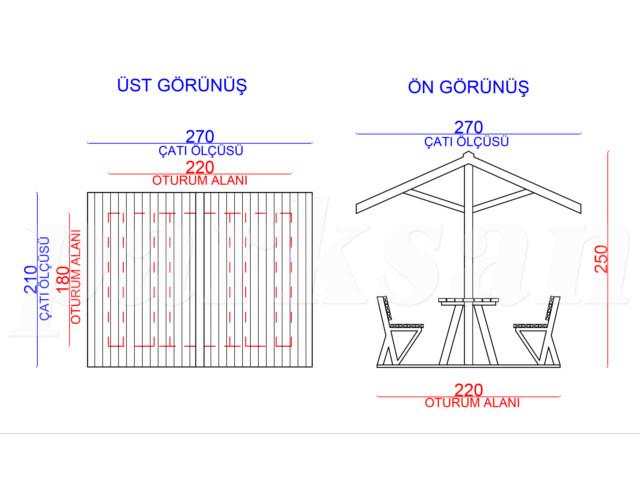 Ahşap & Metal  Çatılı Piknik Masaları / Piknik Masası (Metal Taşıyıcı)  PA - PM60  Teknik Resim