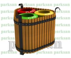 Dış Mekan Ahşap Geri Dönüşüm Çöp Kovası  PA - ÇK50