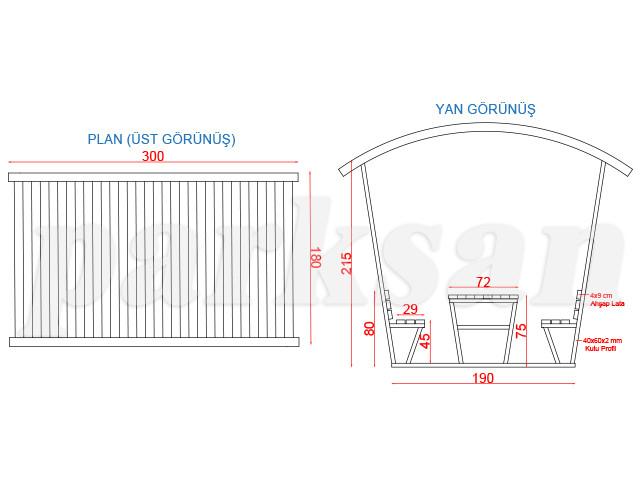 Ahşap & Metal  Çatılı Piknik Masaları / Piknik Masası (Metal Taşıyıcı)  PA - PM66  Teknik Resim