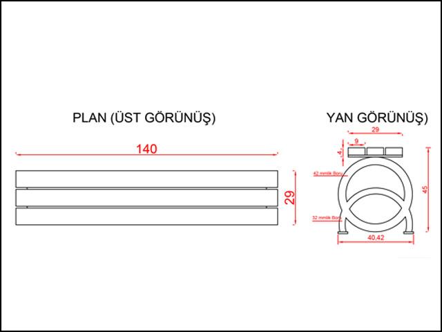 Ahşap & Metal Oturma Bankları / Oturma Bankı (Metal Ayak) PA - B04 Teknik Resim